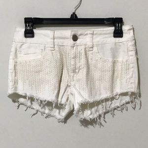 American Eagle Sequined White Cut-Off Shorts